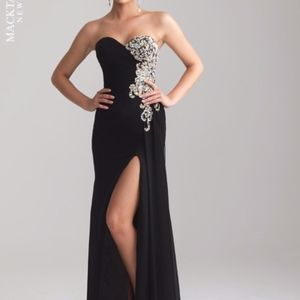 NWT Night Moves Black Strapless Formal Gown